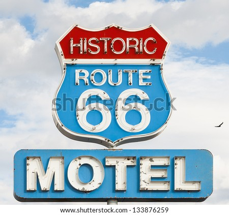 american syule of life, motel spirit in historic 66 road - stock photo