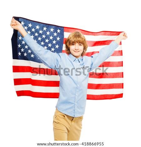 American teenage boy waving star-spangled banner - stock photo
