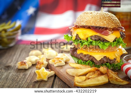American 4th of July Cheeseburger with copy space