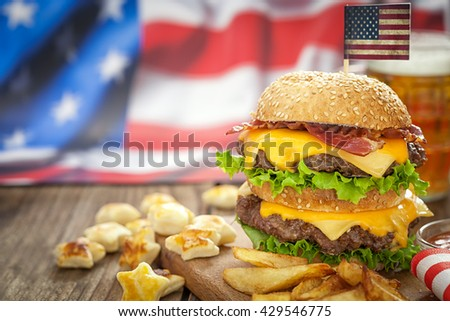American 4th of July Cheeseburgers with copy space