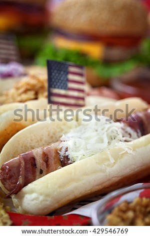 American 4th of July Hot Dogs - stock photo