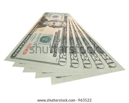 American twenties fanned out $100 - stock photo