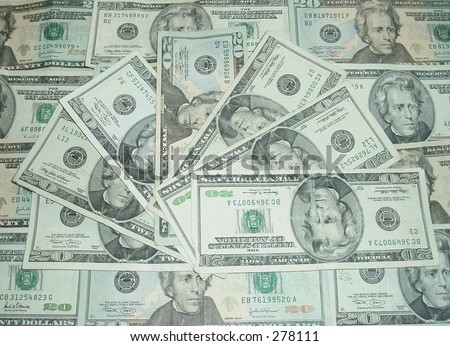 American twenty dollar bills - stock photo