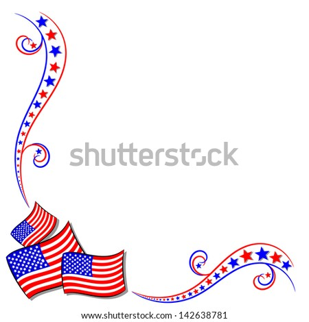 American USA flag and stars border frame with copy space - stock photo