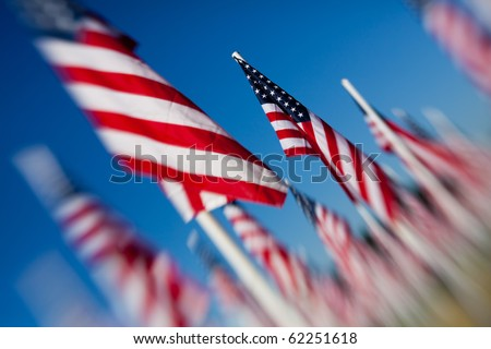 American USA flags arranged under clear blue sky. Shot angled and with a lensbaby for optical blur and limited depth of field. - stock photo