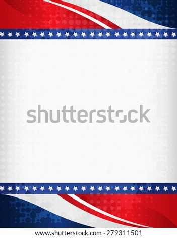 American / USA grunge halftone dotted patriotic frame with ribbon banner  on top and bottom as header and footer. A traditional vintage american poster design - stock photo