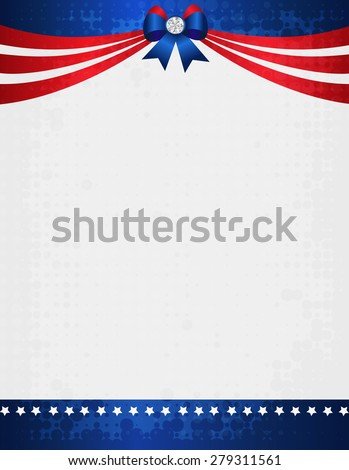 American / USA grunge patriotic frame with ribbon banner and bow with crystal on top. A traditional vintage american poster design - stock photo