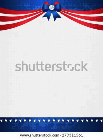American USA Grunge Patriotic Frame Ribbon Stock Illustration ...