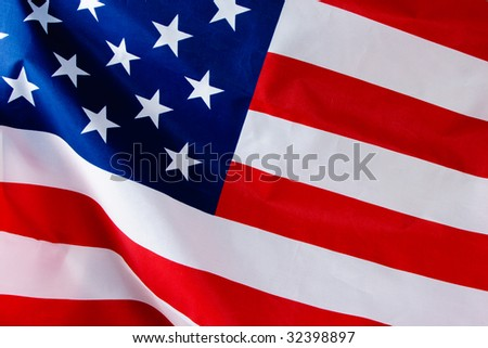 American USA stripped flag close up