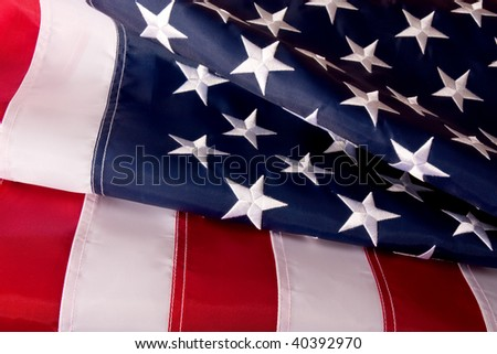 American (USA) Waving flag background studio shot