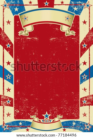 American used poster with red frame. A textured background for a poster - stock photo