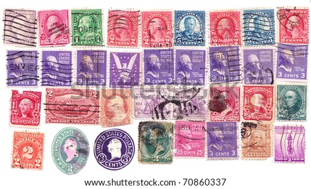 American various vintage collection of postage stamps. - stock photo