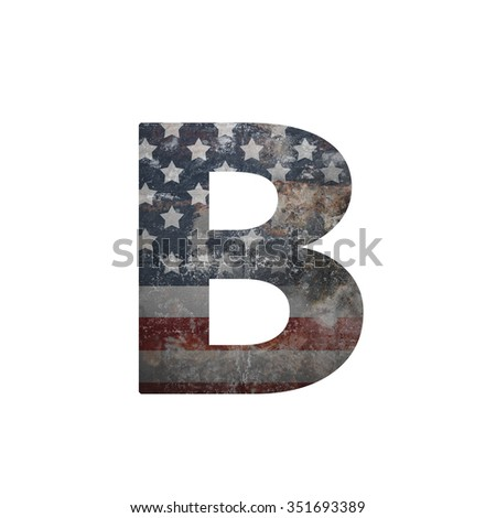 American vintage flag in letter b - stock photo