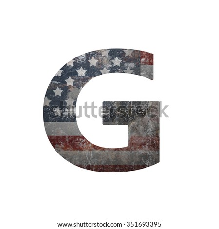 American vintage flag in letter g - stock photo