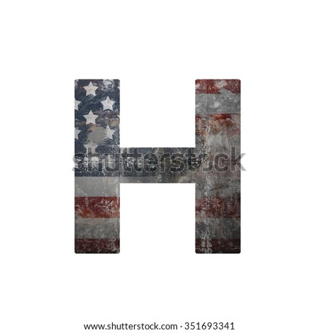 American vintage flag in letter h - stock photo