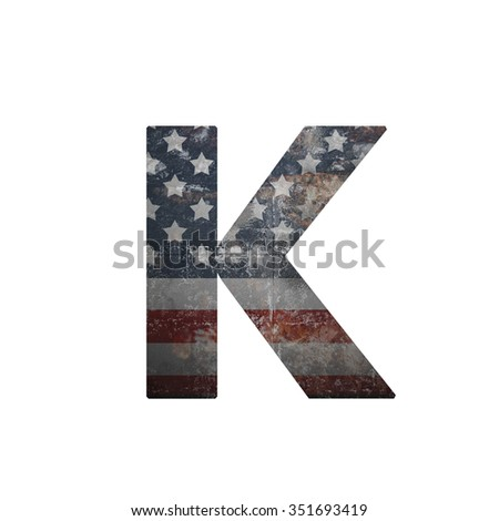 American vintage flag in letter k - stock photo