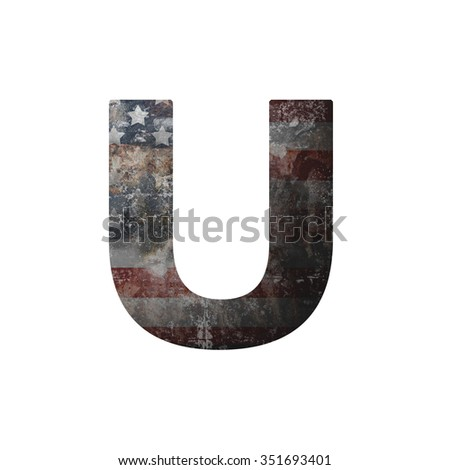 American vintage flag in letter u - stock photo