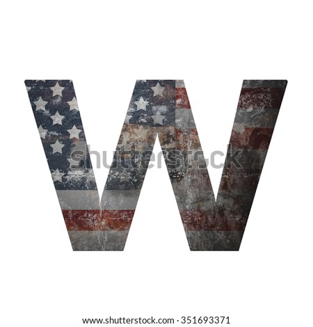 American vintage flag in letter w - stock photo
