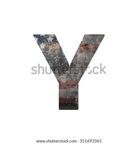 American vintage flag in letter y - stock photo