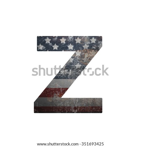 American vintage flag in letter z - stock photo