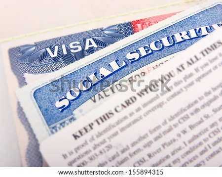 American Visa and Social Security Card - stock photo