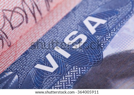 American Visa in the passport. Close up. - stock photo