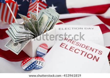 American vote concept. Ballot for presidents election 2016 and many dollar banknotes on stars and stripes background - stock photo