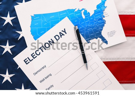 American vote concept. Ballot for presidents election 2016 on stars and stripes background - stock photo