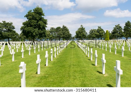 American War Cemetery at Omaha Beach, Normandy (Colleville-sur-Mer). - stock photo