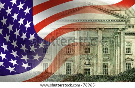American waving flag blended with an image of the white house