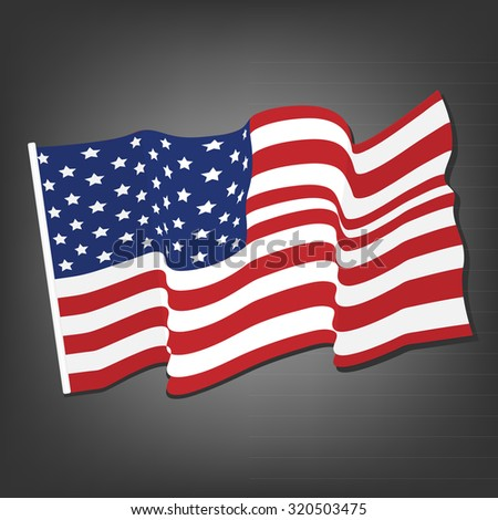 American waving flag raster icon, national symbol, red, white and blue with stars, grey background