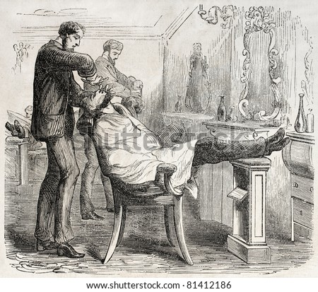 American way of life: old illustration of a barber shop. Created by Job, published on L'Illustration, Journal Universel, Paris, 1857 - stock photo