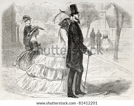 American way of life: old illustration of a couple going to church. Created by Job, published on L'Illustration, Journal Universel, Paris, 1857 - stock photo