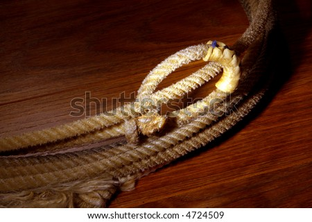 American West authentic vintage rodeo cowboy lariat lasso hondo loop detail on brown background