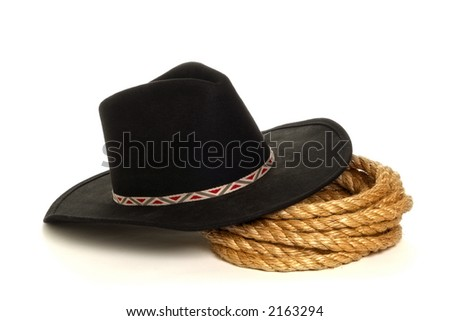 American West rodeo cowboy black felt hat and ranching rope over white