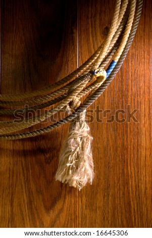 American West rodeo cowboy lariat lasso with hondo loop detail over wood
