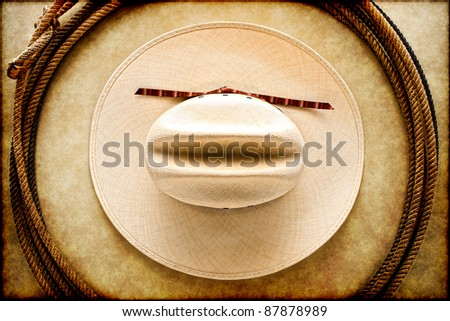 American West rodeo cowboy white hat and authentic vintage Western lariat style lasso hondo loop on smooth brown leather texture background - stock photo