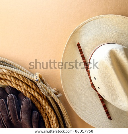 American West rodeo cowboy white hat and authentic Western lariat style lasso with hondo loop on smooth leather texture background - stock photo