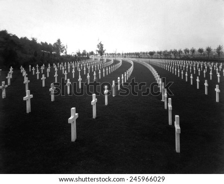American WWI cemetery in France in 1928. Aisne-Marne American Cemetery is at the foot of the hill where the Battle of Belleau Wood was fought. Belleau, France. - stock photo