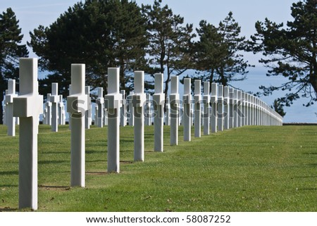 American WWII cemetery  in Normandy, France - stock photo