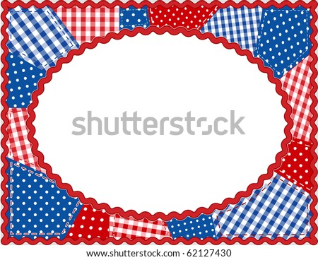 Americana Patchwork Frame. Patriotic red, white & blue gingham & polka dots, rick rack oval frame. Copy space for posters, fliers, albums, scrapbooks. - stock photo