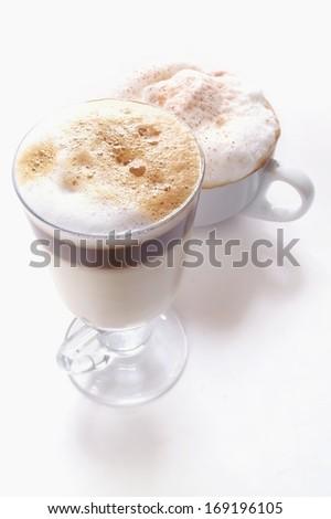 americano and cappucino coffee isolated on white backgound