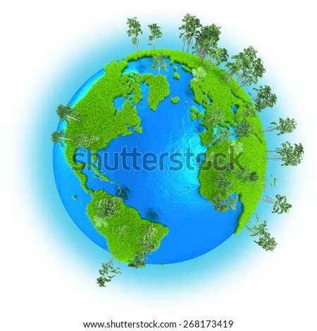 Americas, Europe and Africa on grassy planet Earth with trees isolated on white background - stock photo