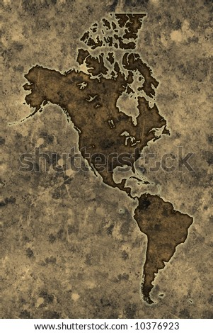 Americas map on an ancient grunge parchment sheet background