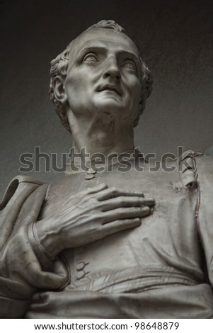 Amerigo Vespucci. Statue outside the Uffizi, Florence, Italy - stock photo