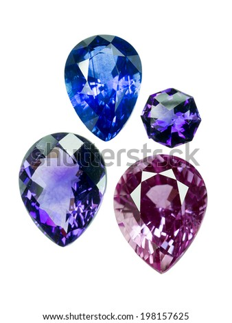 Amethyst, Bright gems on a white background - stock photo