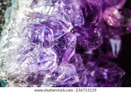 Amethyst crystals close-up - stock photo