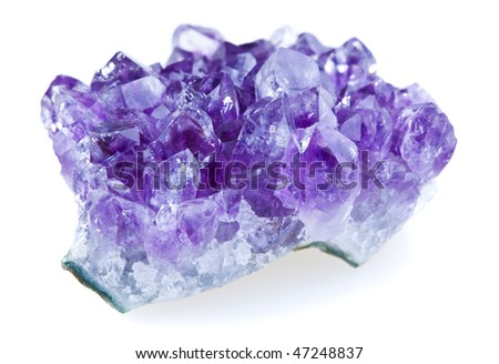 Amethyst crystals isolated on a white background - stock photo