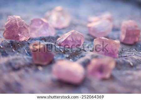 Amethyst crystals, selective focus - stock photo