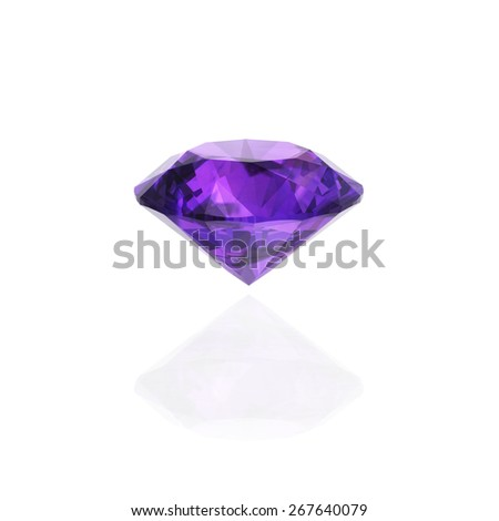 Amethyst diamond on white background - stock photo